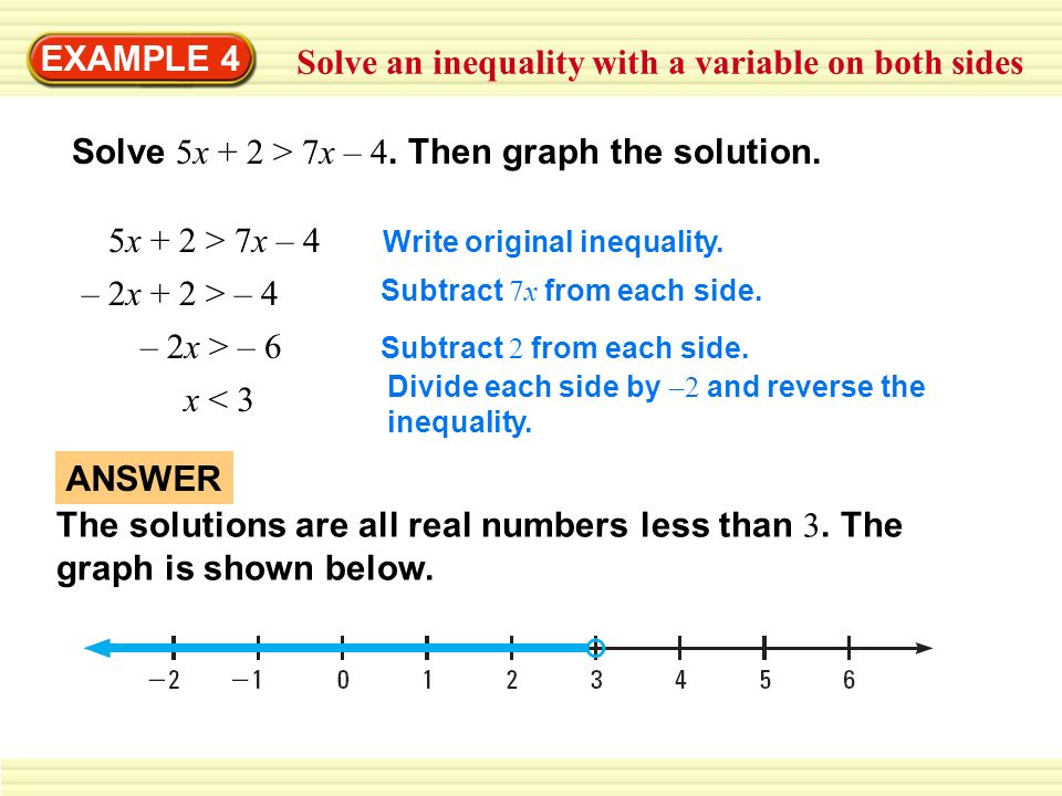 Solve an inequality with a variable on both sides