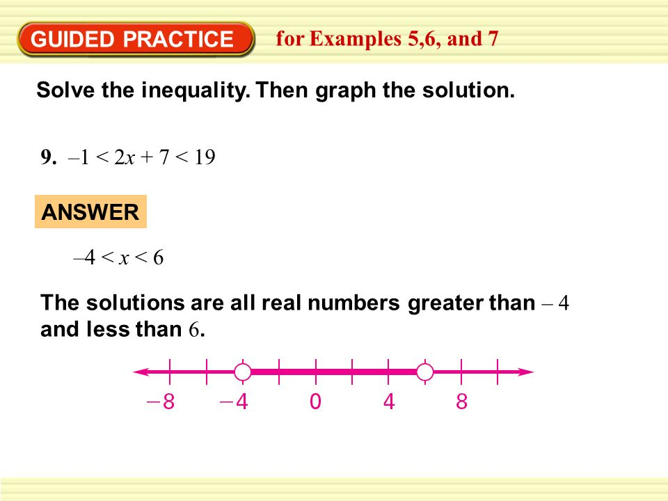 GUIDED PRACTICEfor Examples 5,6, and 7. Solve the inequality. Then graph the solution. 9. –1 < 2x + 7 < 19.
