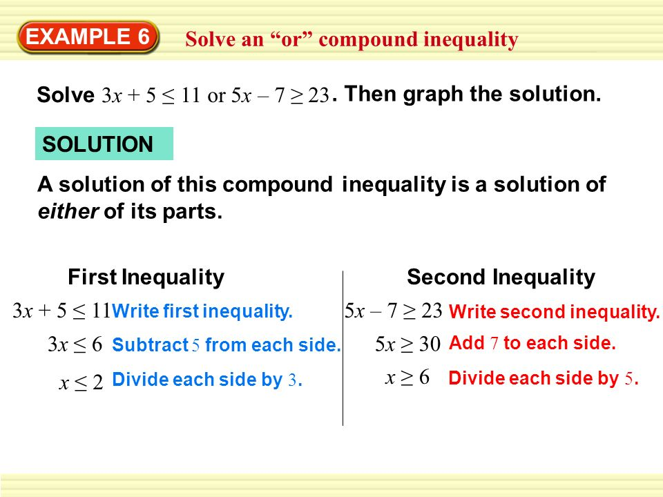 Solve an or compound inequality