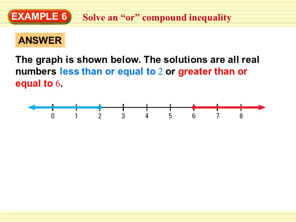 EXAMPLE 6 Solve an or compound inequality. ANSWER.