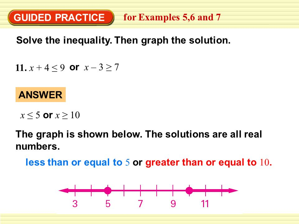 GUIDED PRACTICEfor Examples 5,6 and 7. Solve the inequality. Then graph the solution. 11. x + 4 ≤ 9.