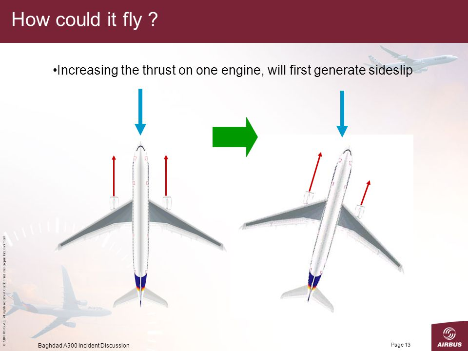 How could it fly . Increasing the thrust on one engine, will first generate sideslip.