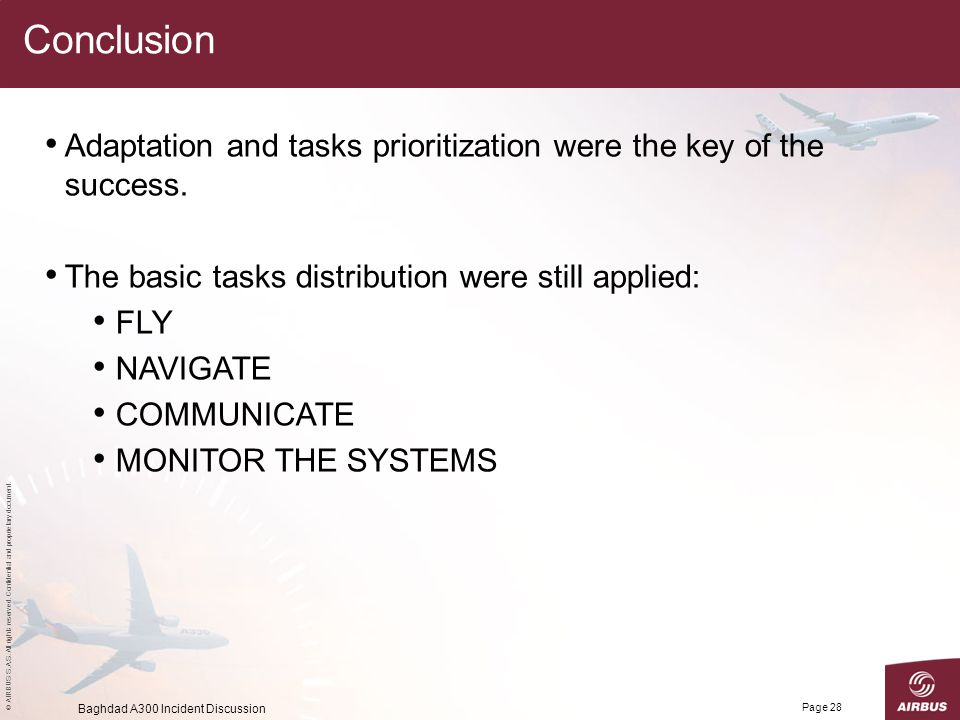 Conclusion Adaptation and tasks prioritization were the key of the success. The basic tasks distribution were still applied: