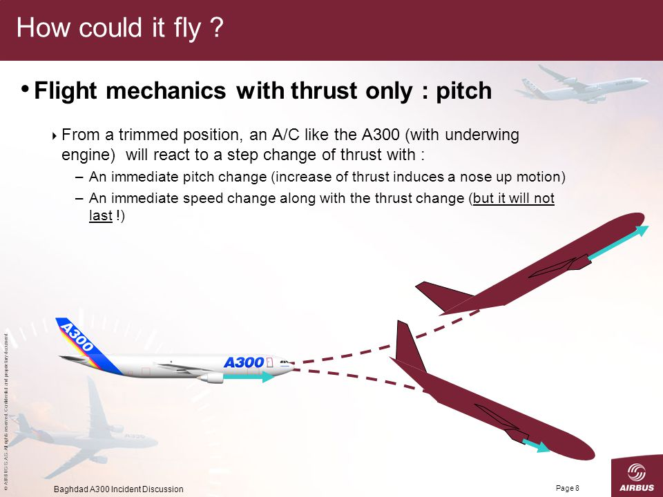 How could it fly Flight mechanics with thrust only : pitch
