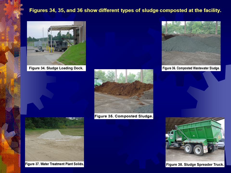 Figures 34, 35, and 36 show different types of sludge composted at the facility.
