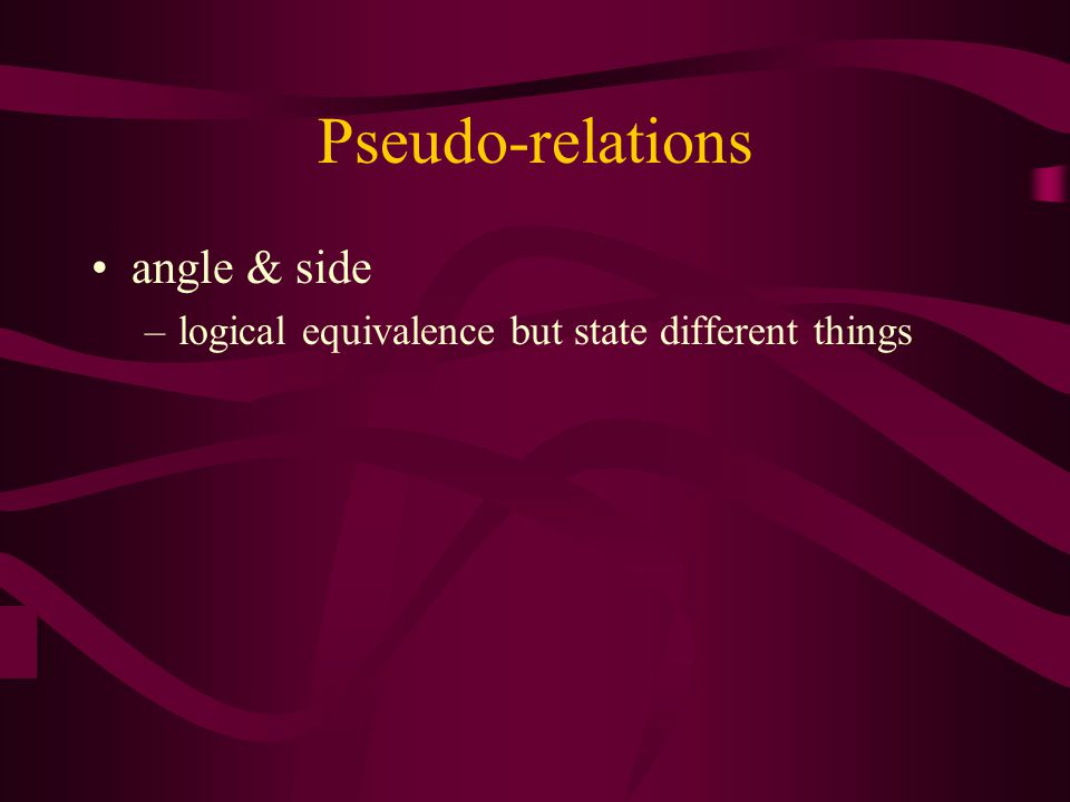 Pseudo-relations angle & side