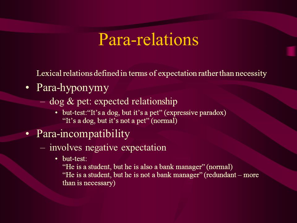 Para-relations Lexical relations defined in terms of expectation rather than necessity. Para-hyponymy.
