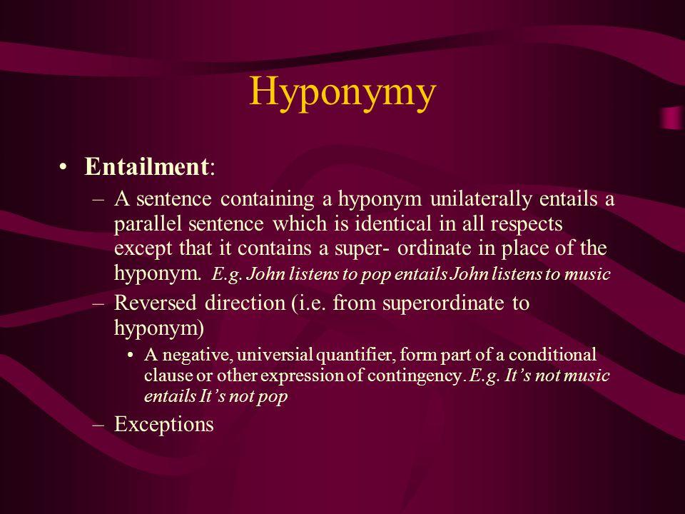 Hyponymy Entailment: