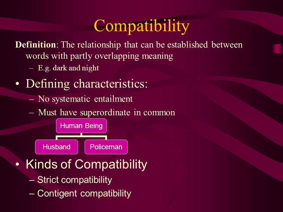 Compatibility Defining characteristics: Kinds of Compatibility