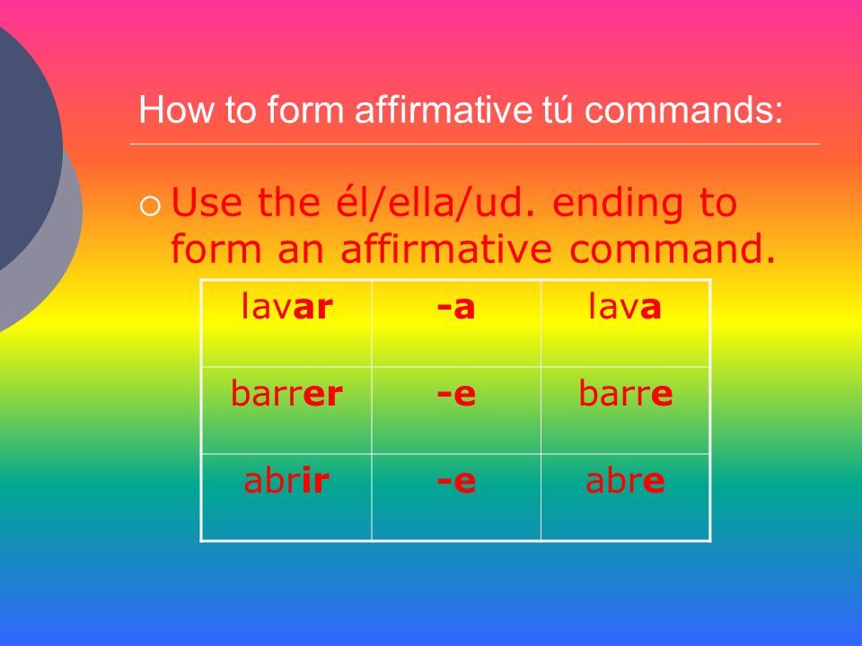 How to form affirmative tú commands: