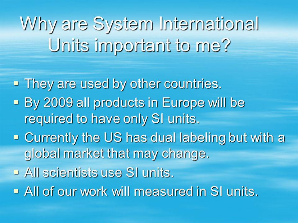 Why are System International Units important to me