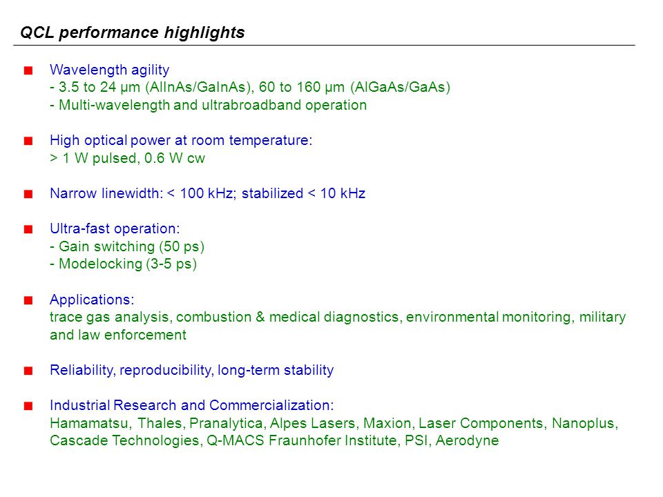 QCL performance highlights