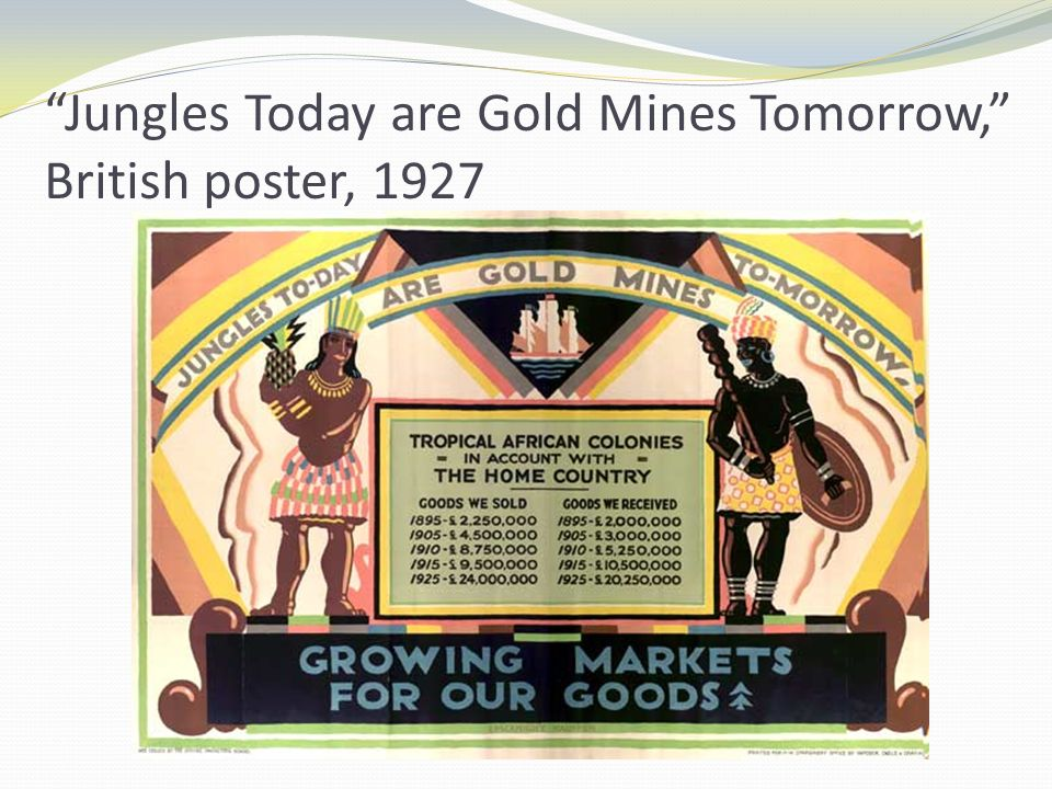 Jungles Today are Gold Mines Tomorrow, British poster, 1927