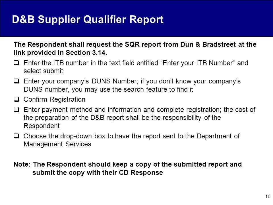 D&B Supplier Qualifier Report