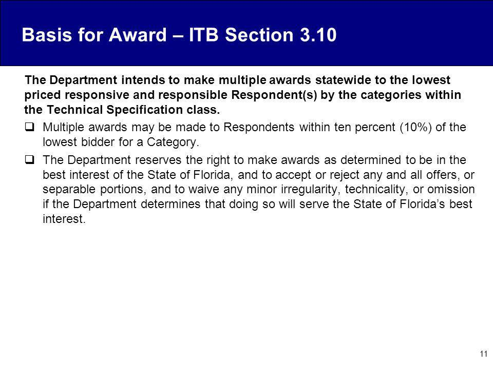 Basis for Award – ITB Section 3.10