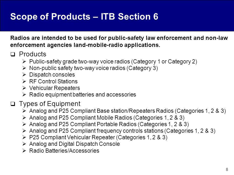 Scope of Products – ITB Section 6