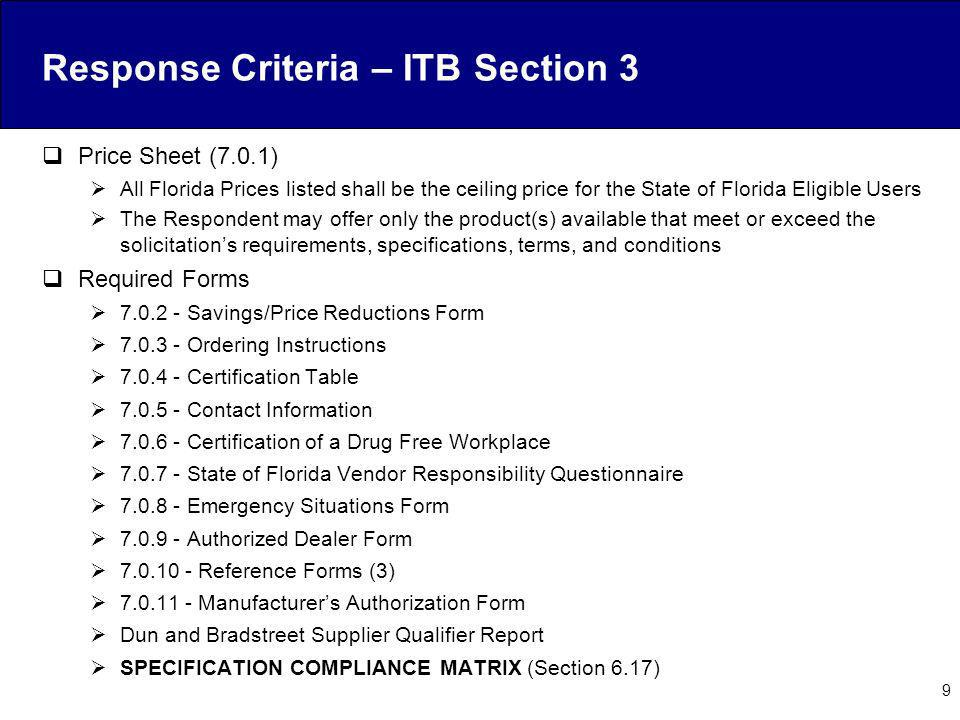 Response Criteria – ITB Section 3