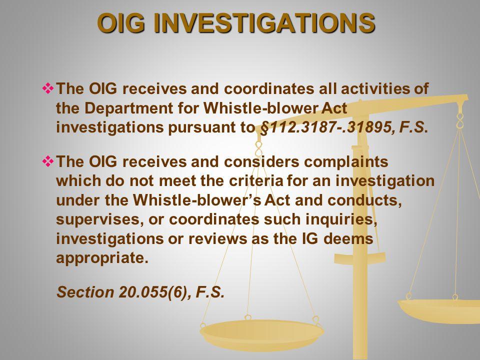 OIG INVESTIGATIONS