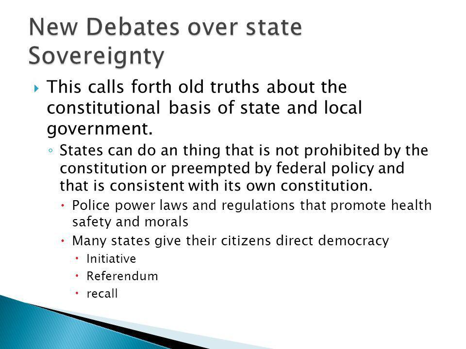 New Debates over state Sovereignty