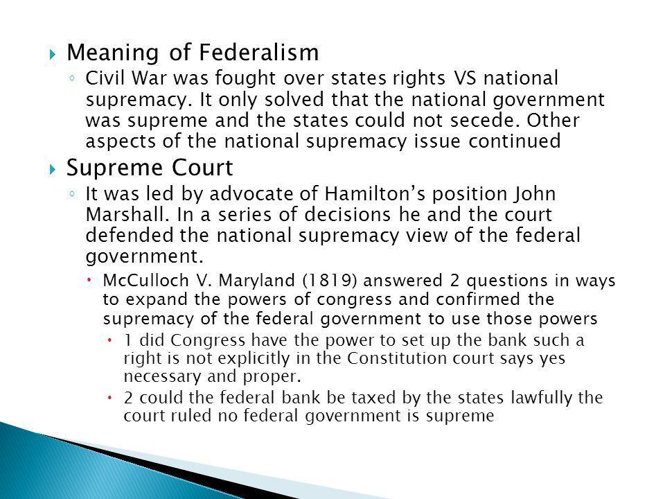 Meaning of Federalism Supreme Court