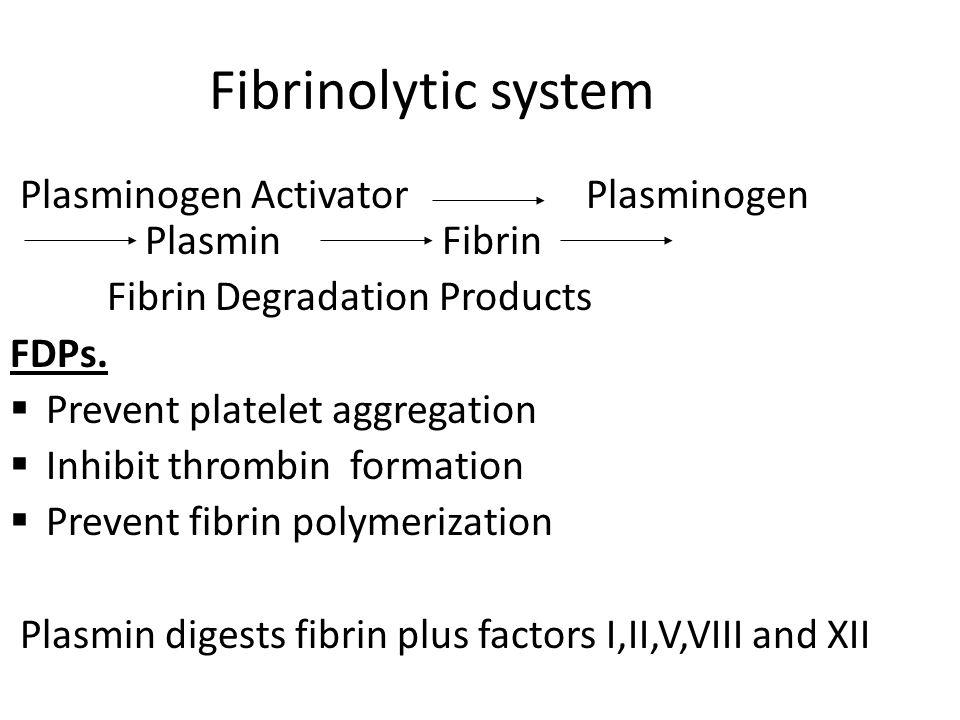 Fibrinolytic system Plasminogen Activator Plasminogen Plasmin Fibrin