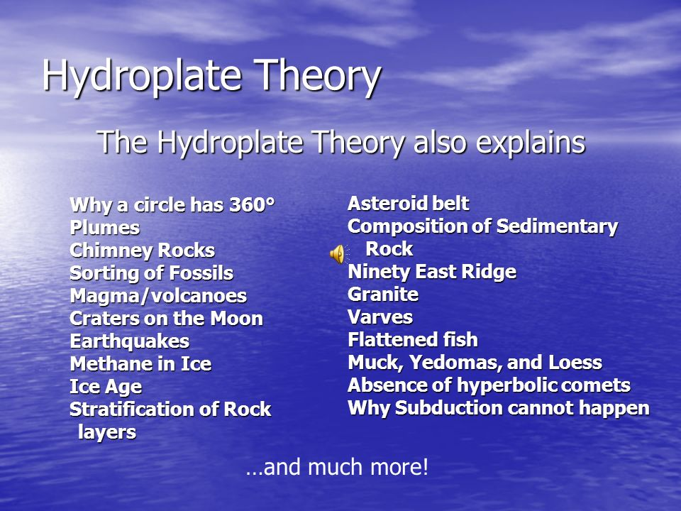 The Hydroplate Theory also explains