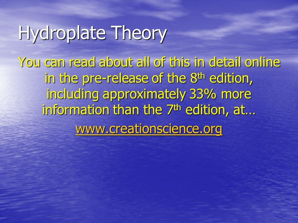 Hydroplate Theory