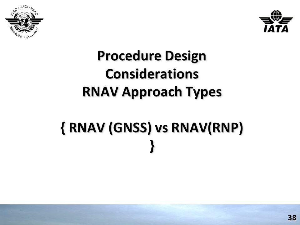 Procedure Design Considerations RNAV Approach Types { RNAV (GNSS) vs RNAV(RNP) }