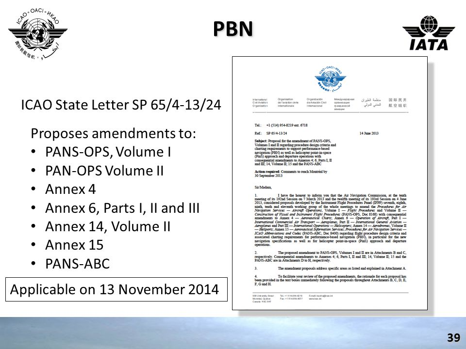 PBN ICAO State Letter SP 65/4-13/24 Proposes amendments to: