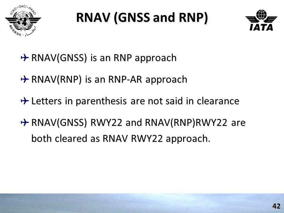 RNAV (GNSS and RNP) RNAV(GNSS) is an RNP approach