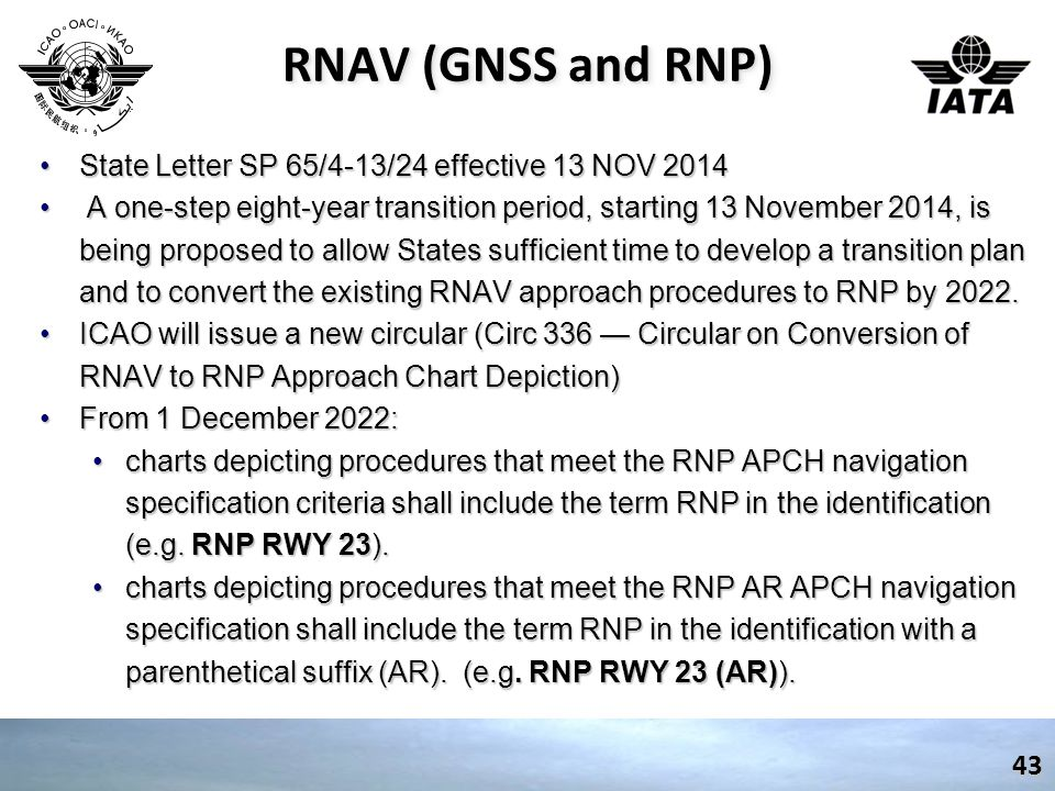RNAV (GNSS and RNP) State Letter SP 65/4-13/24 effective 13 NOV 2014