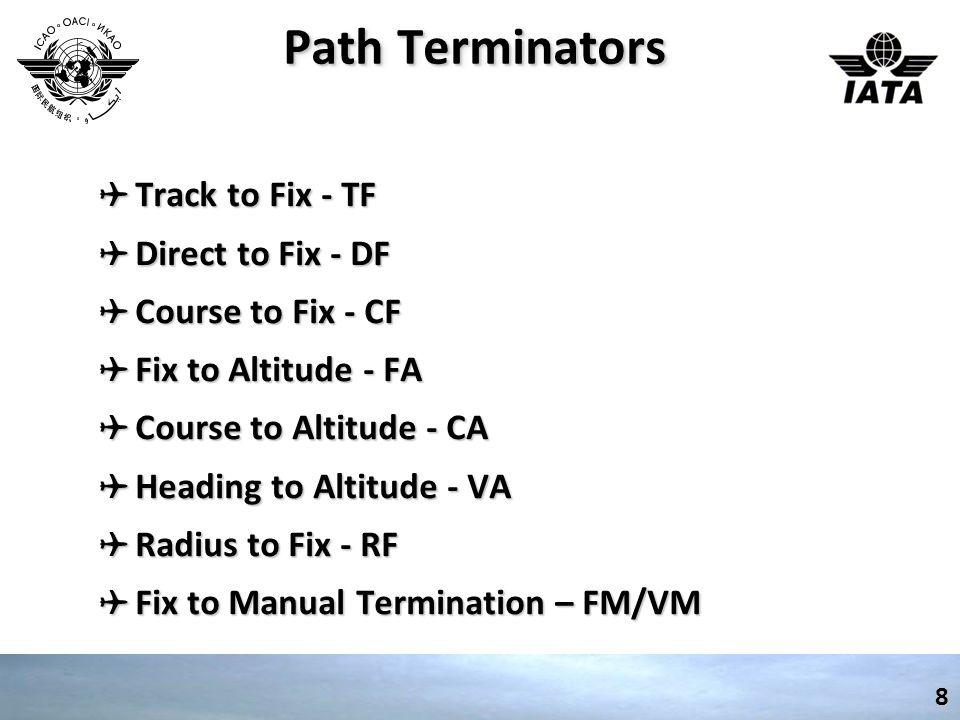 Path Terminators Track to Fix - TF Direct to Fix - DF