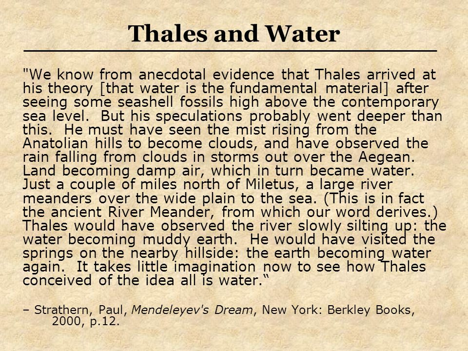 Thales and Water