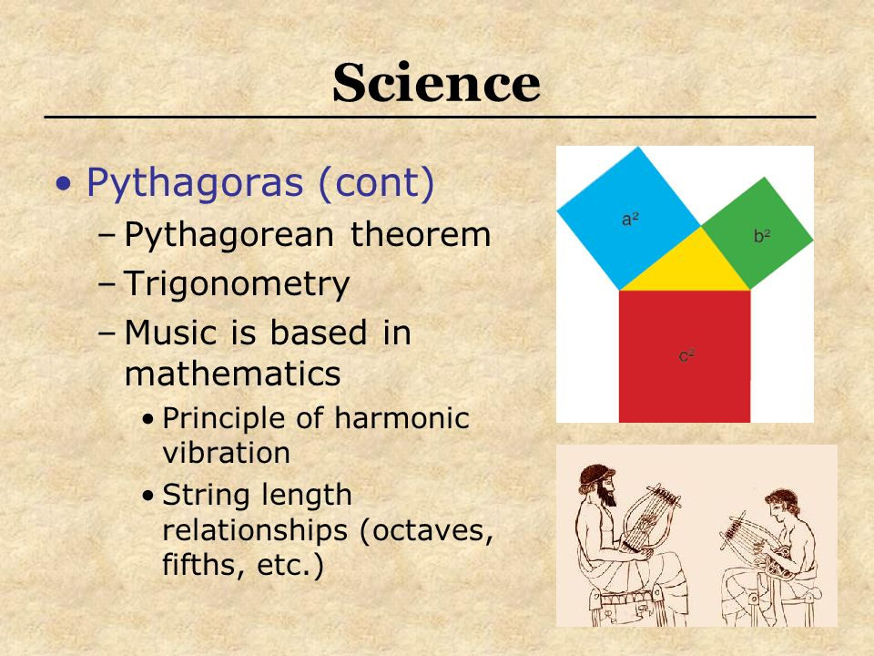 Science Pythagoras (cont) Pythagorean theorem Trigonometry