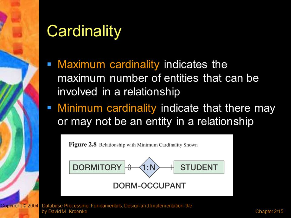 Cardinality Maximum cardinality indicates the maximum number of entities that can be involved in a relationship.