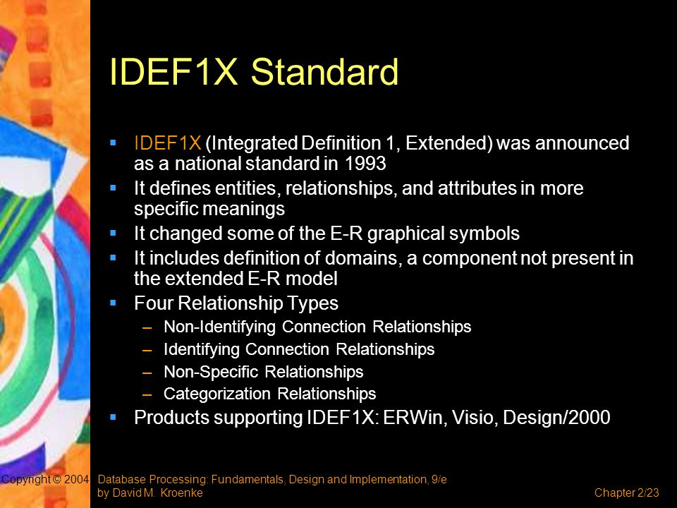 IDEF1X Standard IDEF1X (Integrated Definition 1, Extended) was announced as a national standard in 1993.