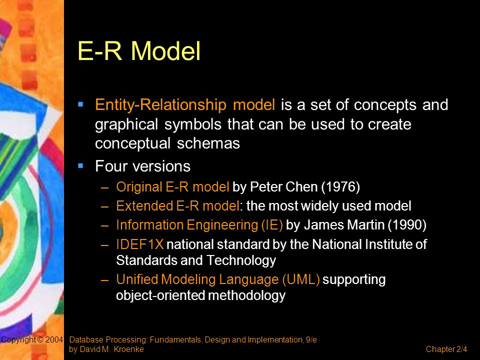 E-R Model Entity-Relationship model is a set of concepts and graphical symbols that can be used to create conceptual schemas.