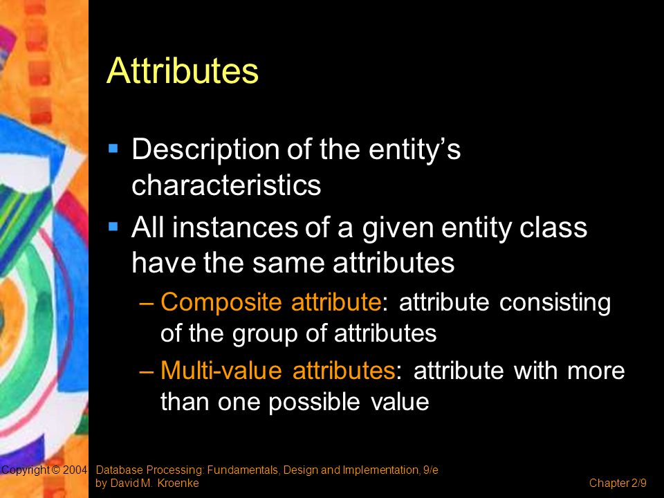 Attributes Description of the entity's characteristics