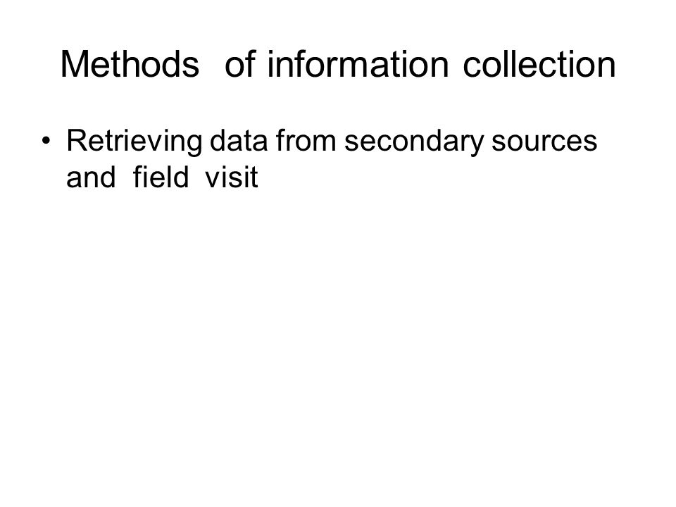 Methods of information collection
