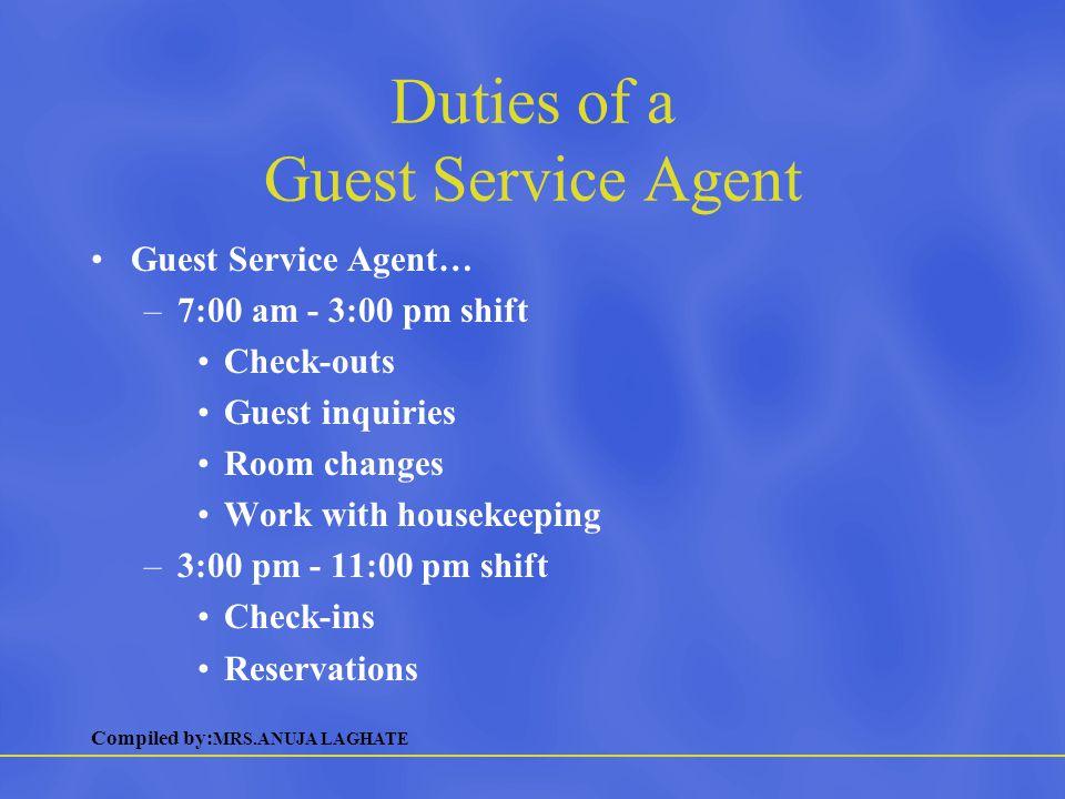 Duties of a Guest Service Agent