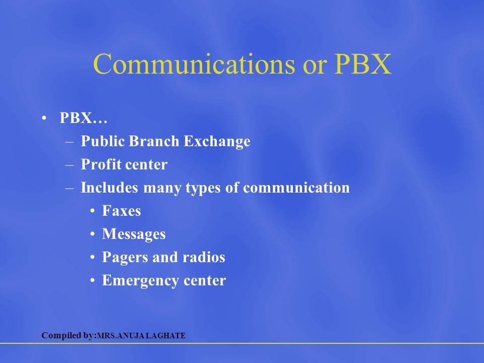 Communications or PBX PBX… Public Branch Exchange Profit center