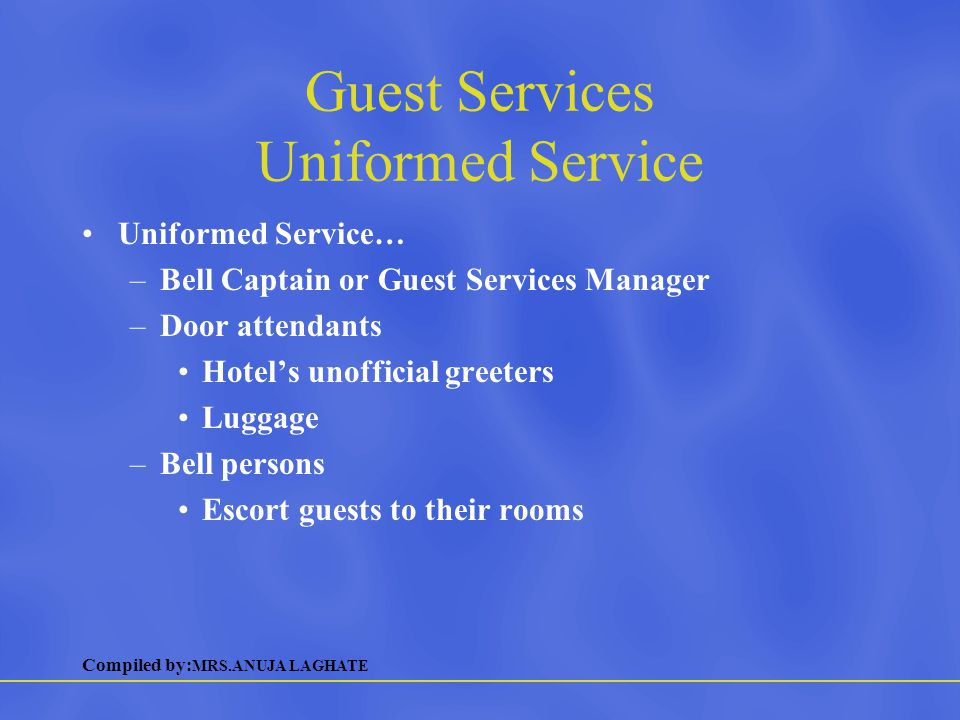 Guest Services Uniformed Service