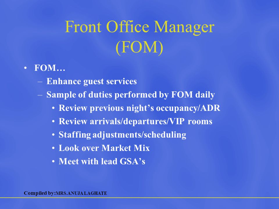 Front Office Manager (FOM)