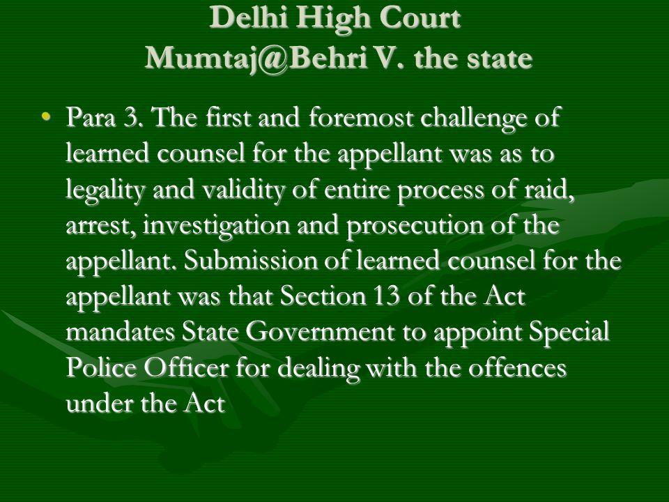 Delhi High Court Mumtaj@Behri V. the state