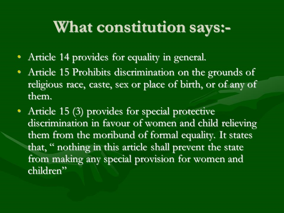 What constitution says:-