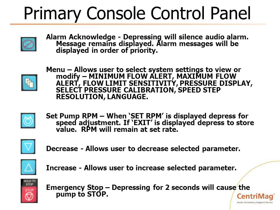 Primary Console Control Panel