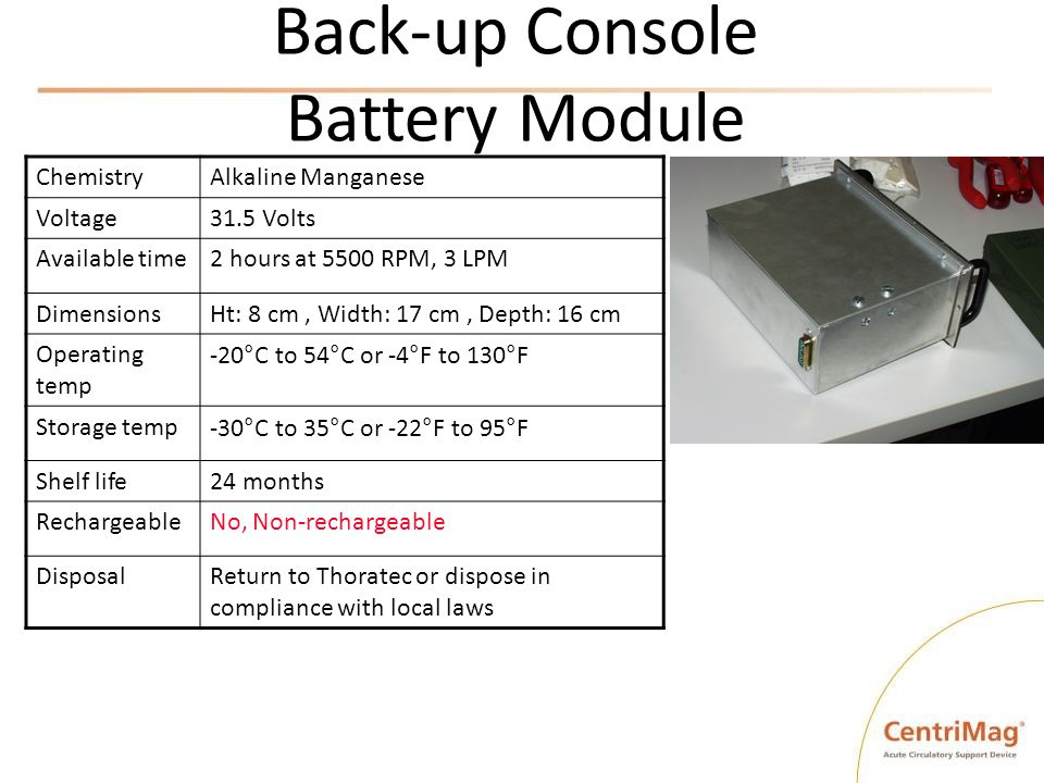 Back-up Console Battery Module