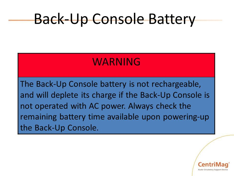Back-Up Console Battery