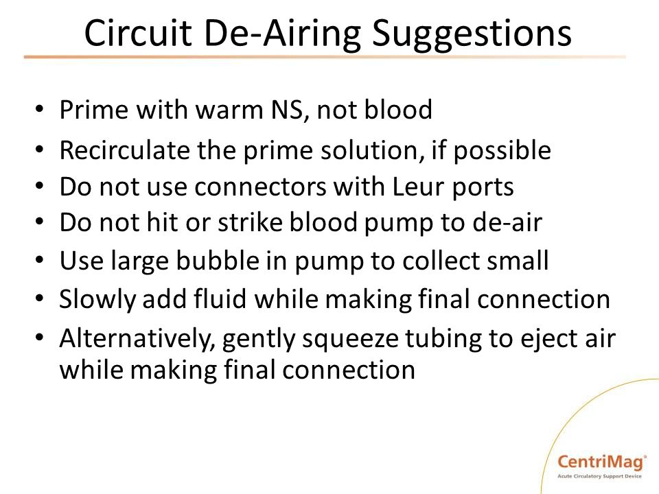 Circuit De-Airing Suggestions