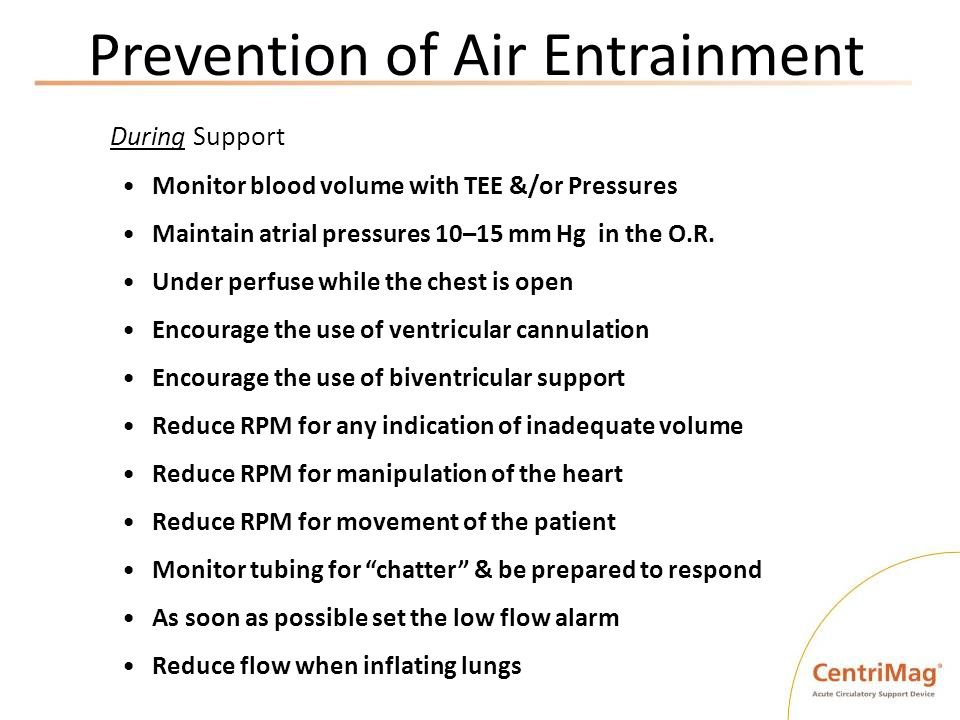Prevention of Air Entrainment